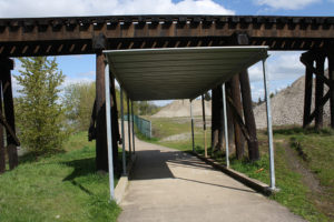 Park walkway with overhang