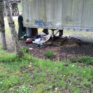 Trash under structure